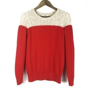 Madewell Sweater Colorblock Cable Knit Pullover